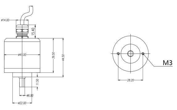 米朗WOA-C霍尔原理非接触式角度传感器尺寸图