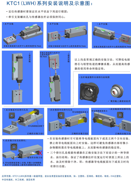 MIRAN米朗科技KTC1/LWH拉杆式直线位移传感器安装示意图