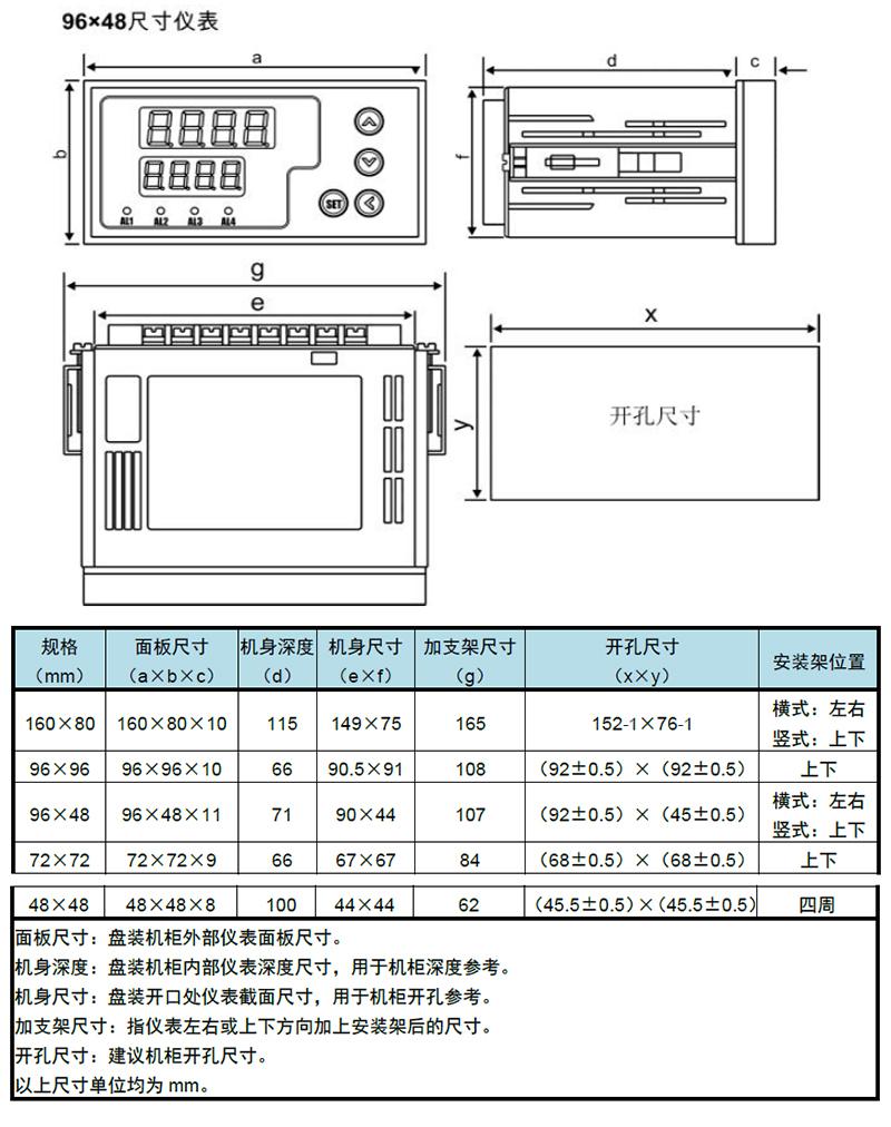 单通道XSK显示控制器数显表安装尺寸